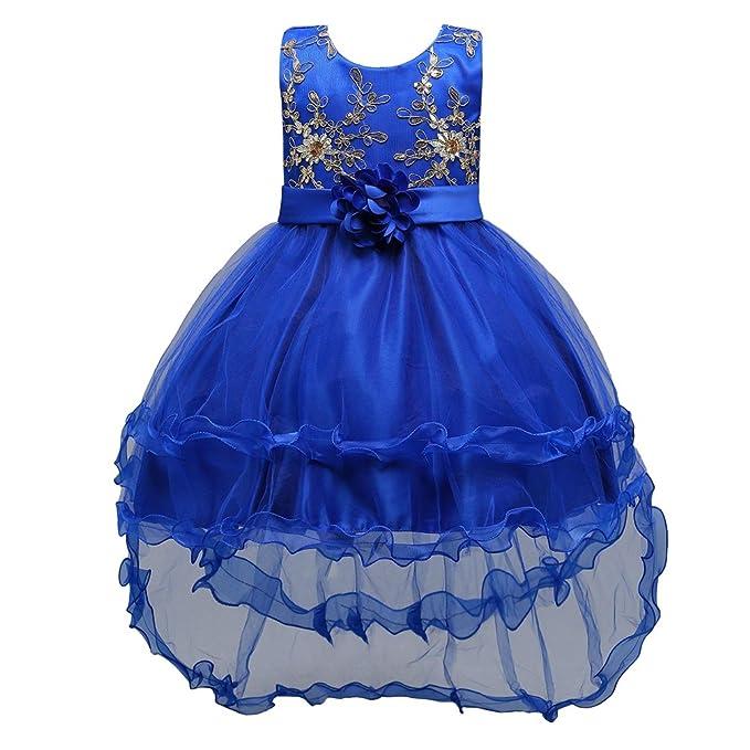 LINNUO Vestidos Tul Sin Mangas de Princesa con Flores Rhinestone Lentejuelas de Boda Fiesta Para Niñas