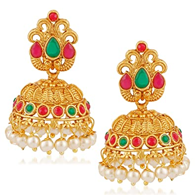 13889aed31e1c MEENAZ South Indian Temple Jewellery Sets Traditional Matte Gold Pearl Ruby  Green Jhumka/Jhumki Earrings for Women/Girls Stylish -Jhumki earrings-322