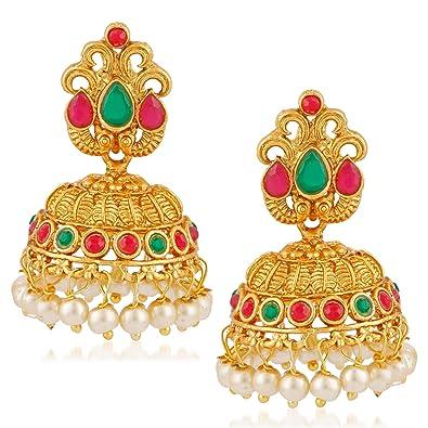 9e63e4600 Buy Meenaz Temple Jewellery Sets Traditional Matte Gold Pearl Stylish Ruby  Green Jhumka/Jhumki Earrings for women/girls-Jhumki earrings-322 Online at  Low ...
