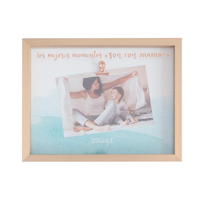 Mr. Wonderful Marco de Fotos Los Mejores Momentos Son con Mamá, Madera, Marrón, 26x20x3 cm