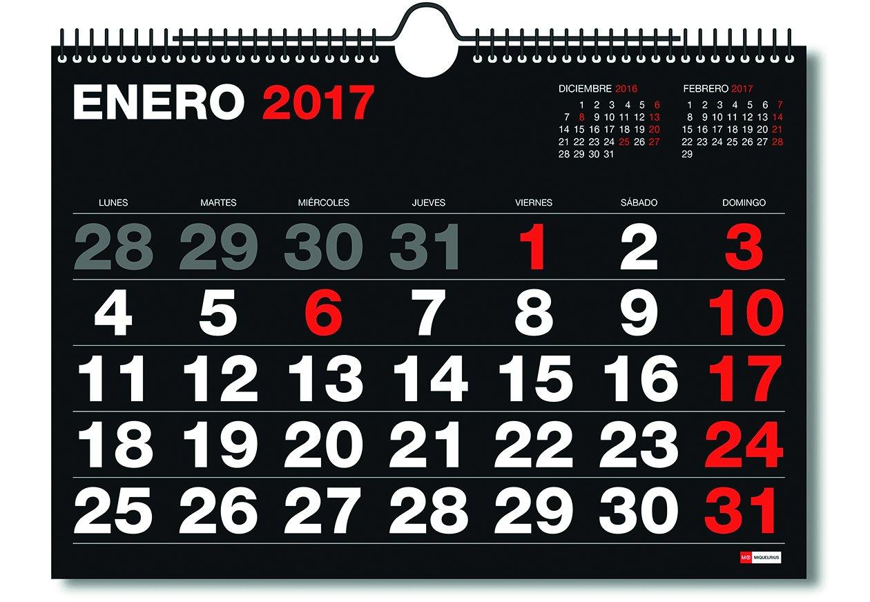 Miquelrius 28020 - Calendario de pared A3, números grandes ...