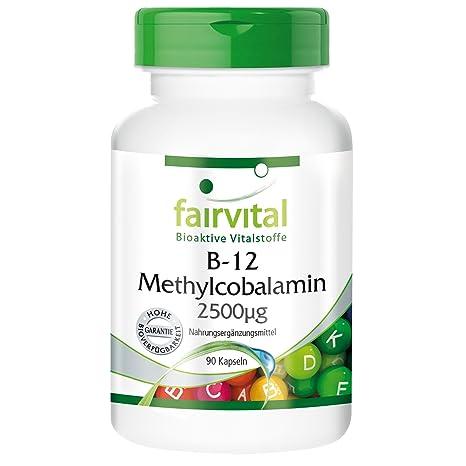 fairvital - 90 cápsulas vegetarianas de metilcobalamina B12 - 2.500 µg