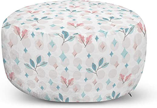 Amazon Com Lunarable Abstract Ottoman Pouf Leaves And Circles Geometric Illustration Decorative Soft Foot Rest With Removable Cover Living Room And Bedroom White Multicolor Furniture Decor