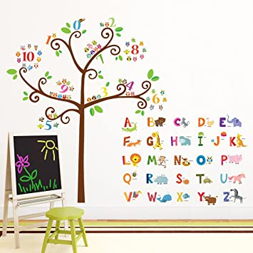 Decowall DA 1503 Animal Alphabet ABC And Owl Numbers Tree Kids Wall Decals  Wall Stickers Part 40