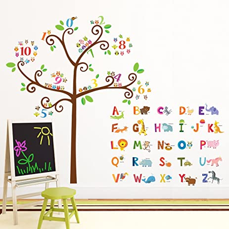 decowall da1503 animal alphabet abc and owl numbers tree kids wall decals wall stickers