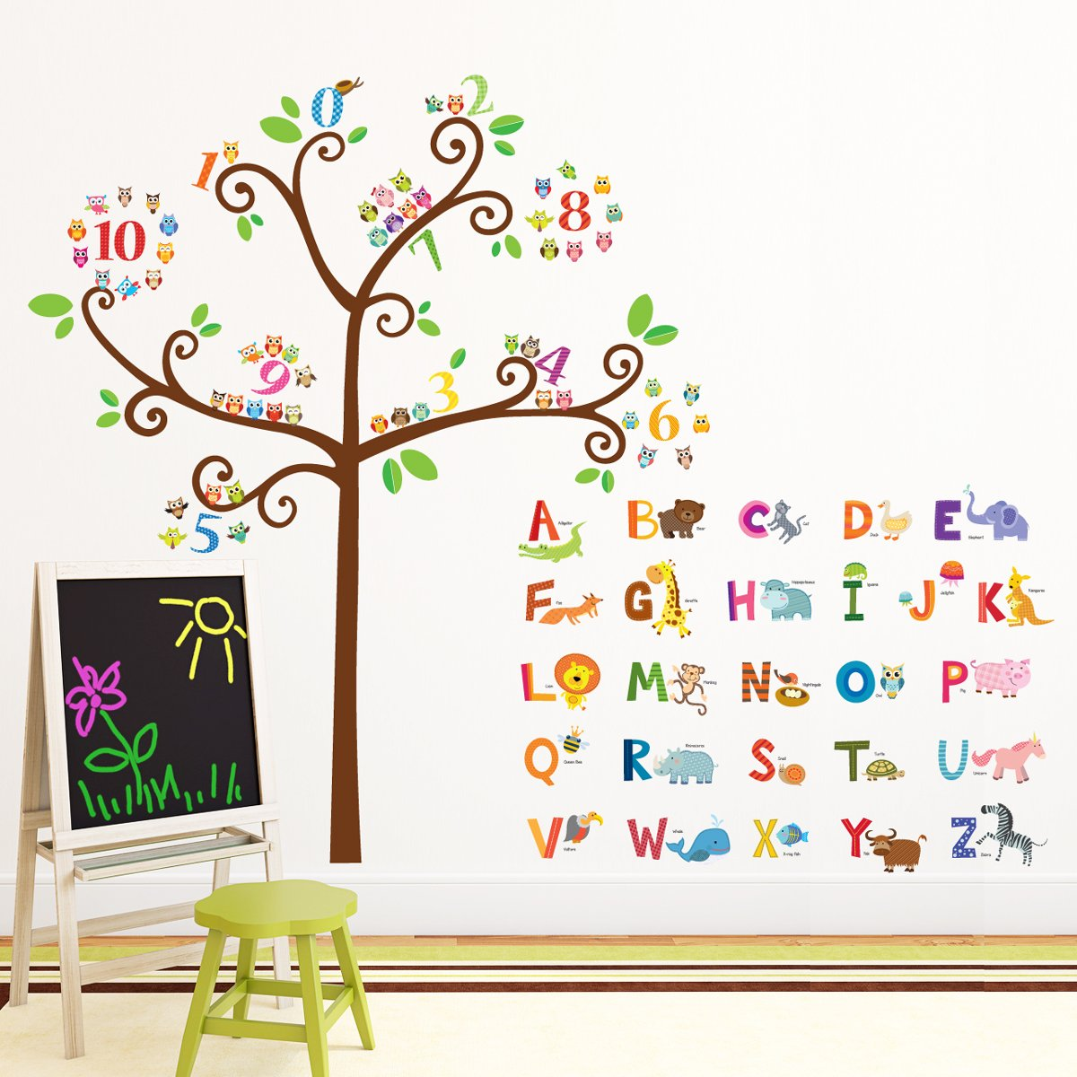 Decowall DA-1503 Animal Alphabet ABC and Owl Numbers Tree Kids Wall Decals Wall Stickers Peel and Stick Removable Wall Stickers for Kids Nursery Bedroom Living Room