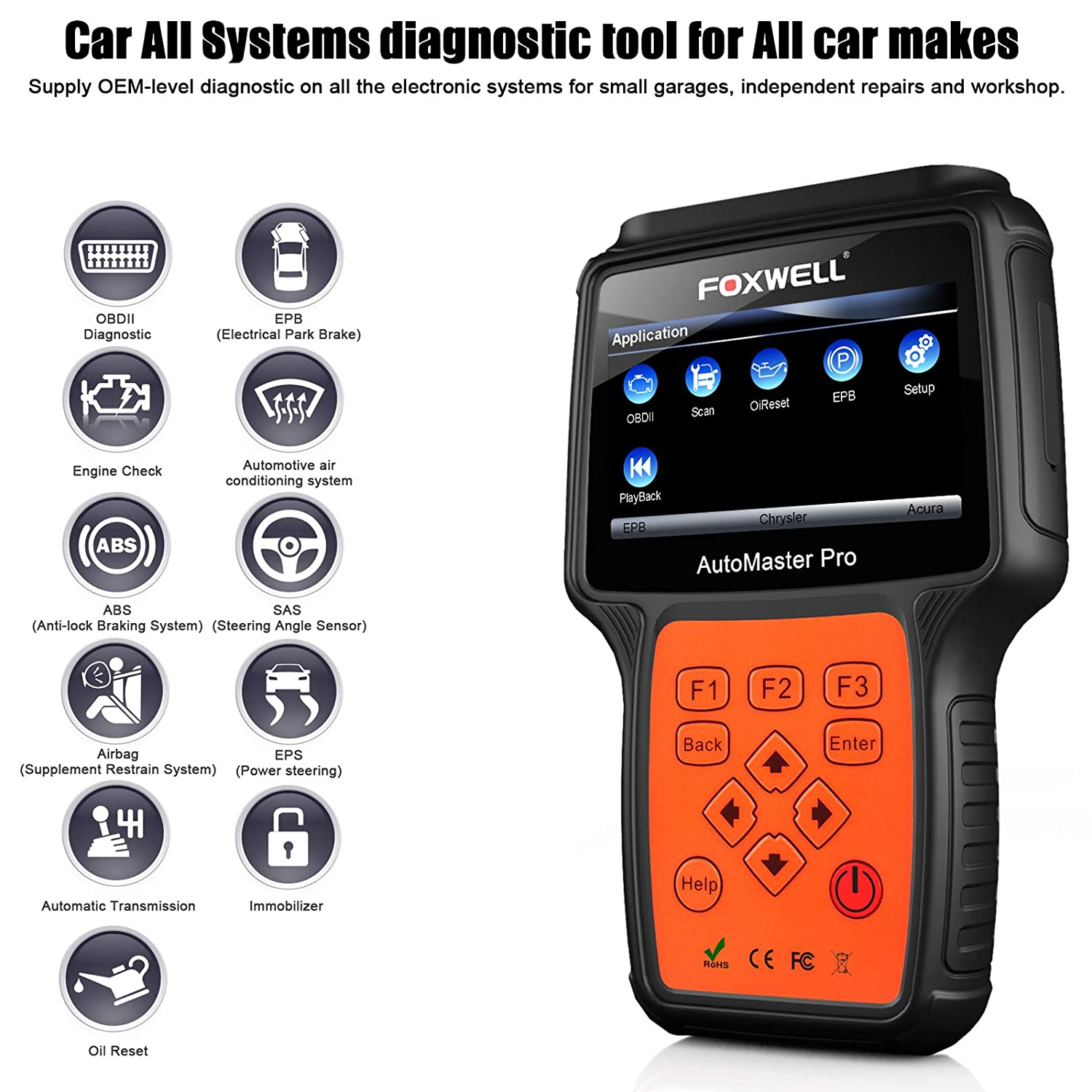 Foxwell Nt624 Pro Professional Automotive Obd2 Scanner Charging System Wiring Diagram 2002 Jeep Liberty Sport Obdii Code Reader Car All Systems Diagnostic Scan Tool With Abs Oil Light Reset And Epb