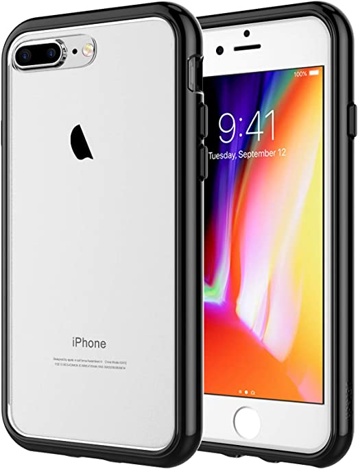 JETech Case for iPhone 8 Plus and iPhone 7 Plus, Shock-Absorption Bumper Cover, Anti-Scratch Clear Back, Black