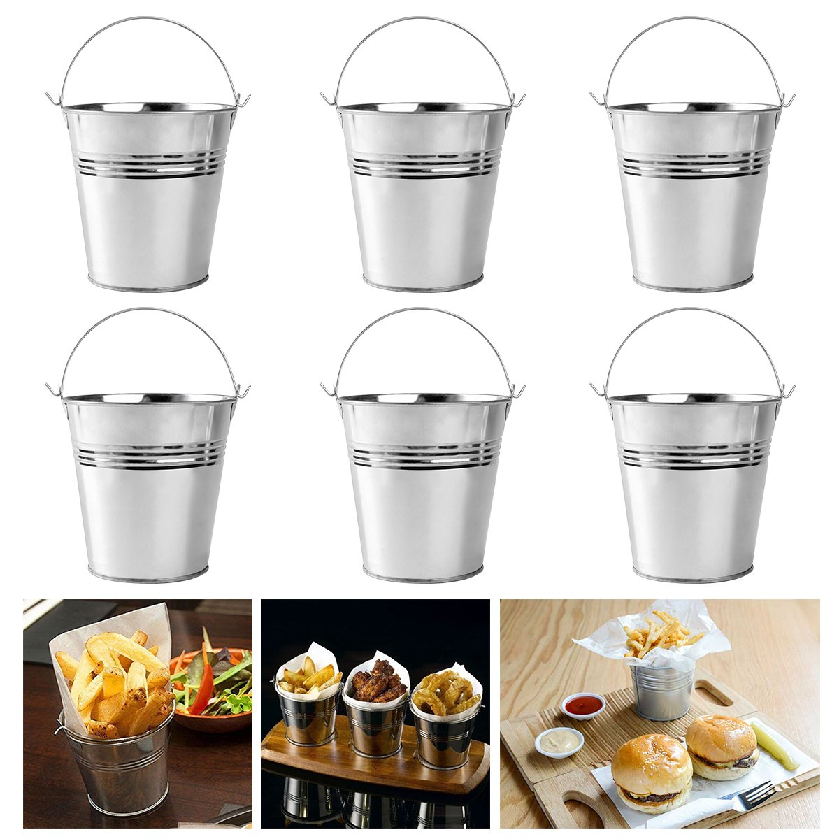 Ounona Mini Metal Bucket Set Of 6 10.5x7.2x10.5cm by Ounona