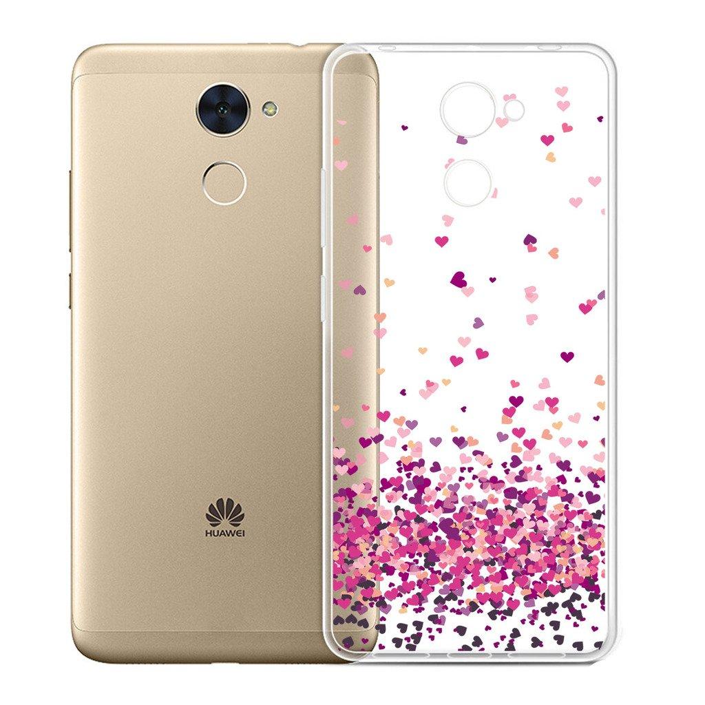 WenJie Transparente Rose Plum Fleur TPU Silicona Suave Funda Case Tapa Caso Parachoques Carcasa Cubierta para Huawei Y7 Prime Y7 Enjoy 7 Plus 5.5
