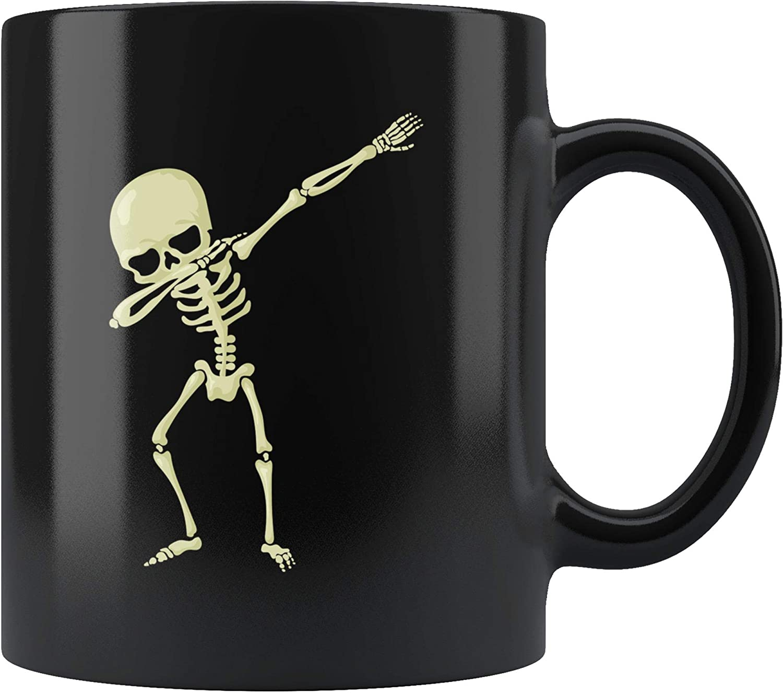 Skeleton Mug Spooky Mug Ghost Mug Dabbing Skeleton Black Coffee Mug Halloween Mug