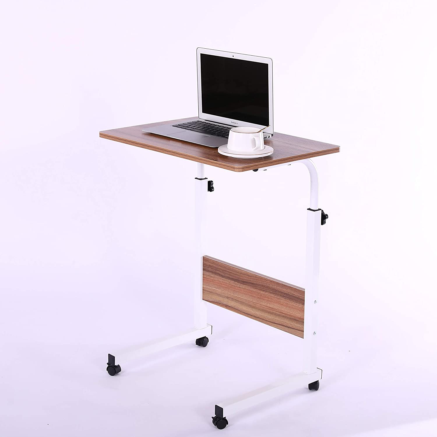 "Laptop Cart 23.6"" Mobile Table Fancasa Movable Portable Adjustable Notebook Computer Stand with Wheels (Teak)"