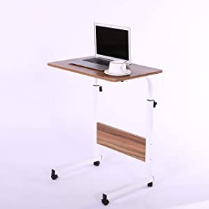"""Laptop Cart 23.6"""" Mobile Table Fancasa Movable Portable Adjustable Notebook Computer Stand with Wheels (Teak)"""