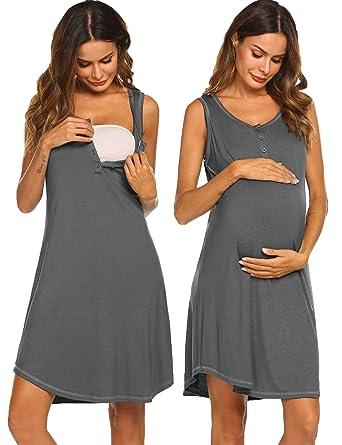 463bc6ec3 Sexyfree Women s Nightgown Cotton Sleep Shirt Scoopneck Sleeveless  Sleepwear (Dark Grey Small)