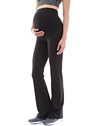 2887d90039d90 PattyBoutik Mama Bootcut Maternity Yoga Pants (Black S) at Amazon Women's  Clothing store: