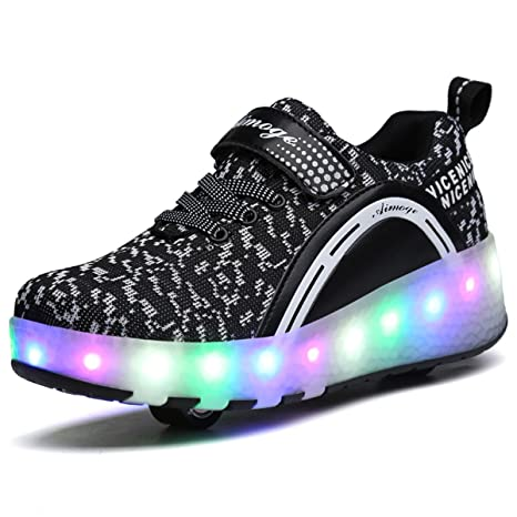 Amazon.com  VMATE LED Light Up Roller Skate Shoes Blink Double Wheel ... ae0b4a73ebf1