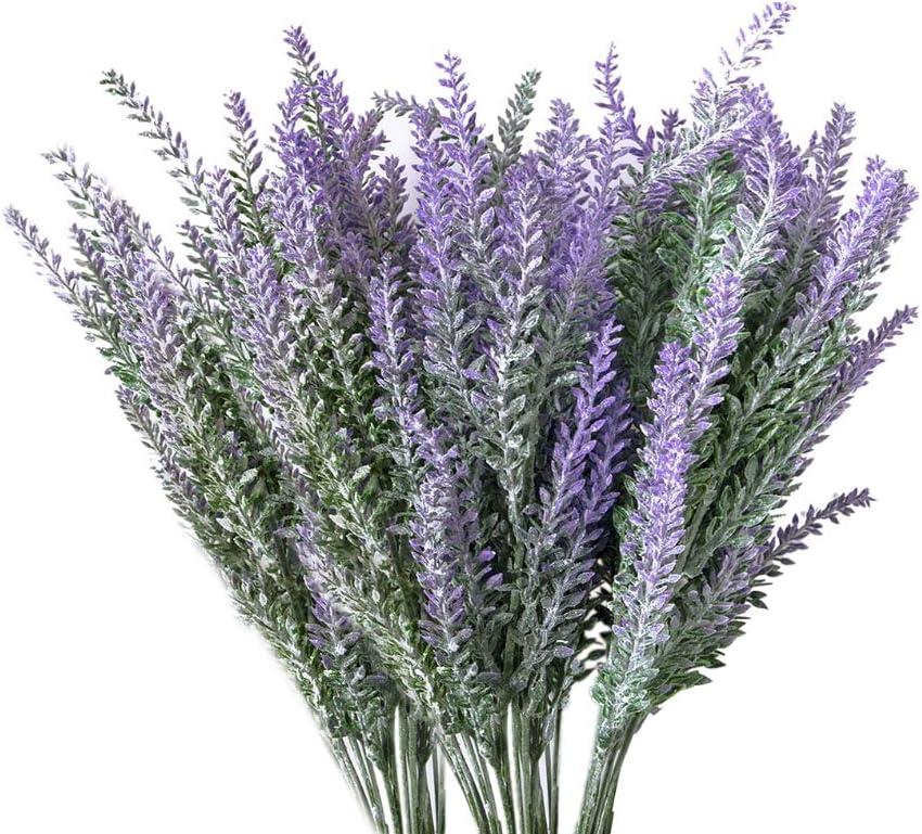 Evoio 10pcs Artificial Flocked Lavender Bouquet, DIY Bridle Flowers Arrangements Home Kitchen Garden Office Wedding Decor Floral-Purple