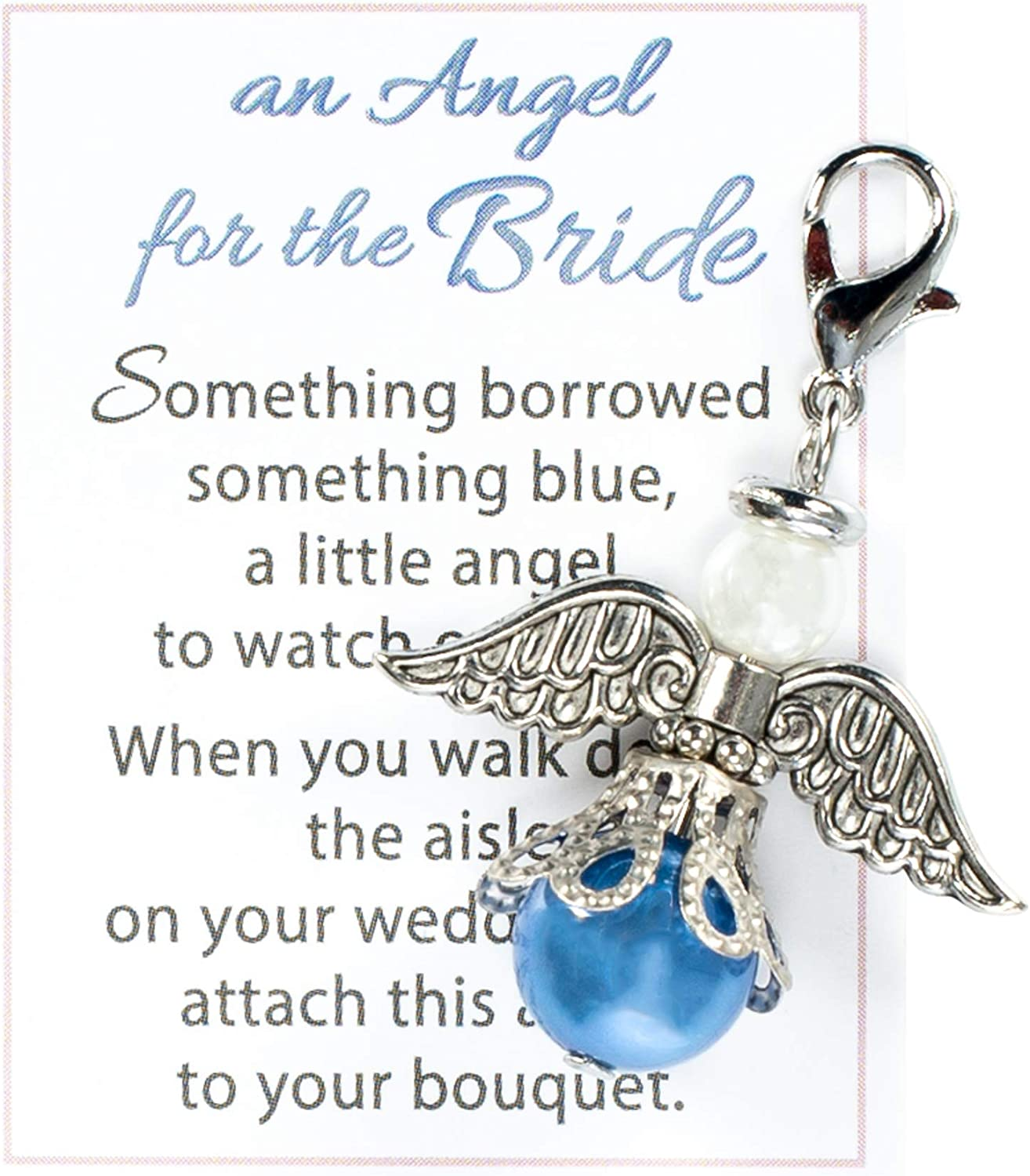 an Angel for The Bride Blue and Silver Tone 1 x 1 Zinc Metal Bouquet Charm