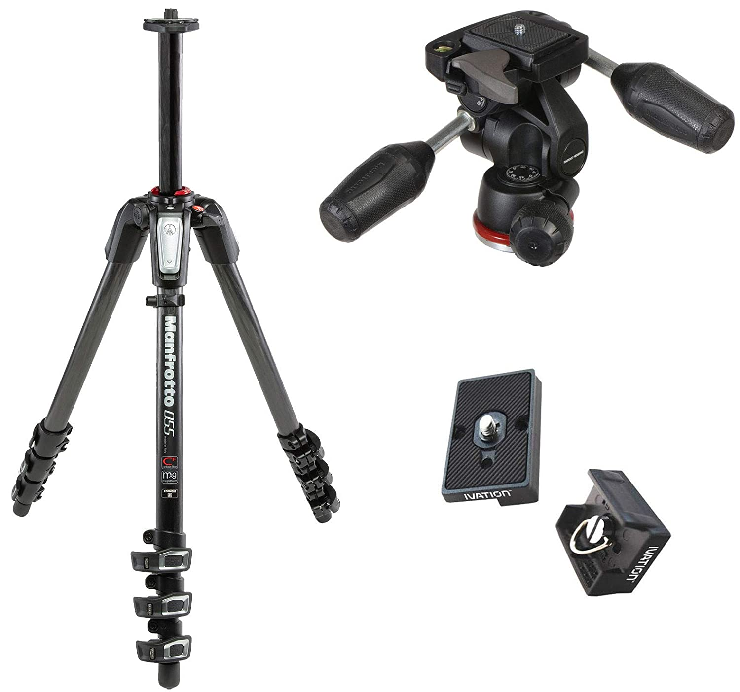 Manfrotto mt055cxpro4 055カーボンファイバー4-section三脚キットwith 804 3ウェイヘッド交換用クイックリリースプレート2つ付きThe rc2 Rapid Connectアダプタ   B014Q8CPYA