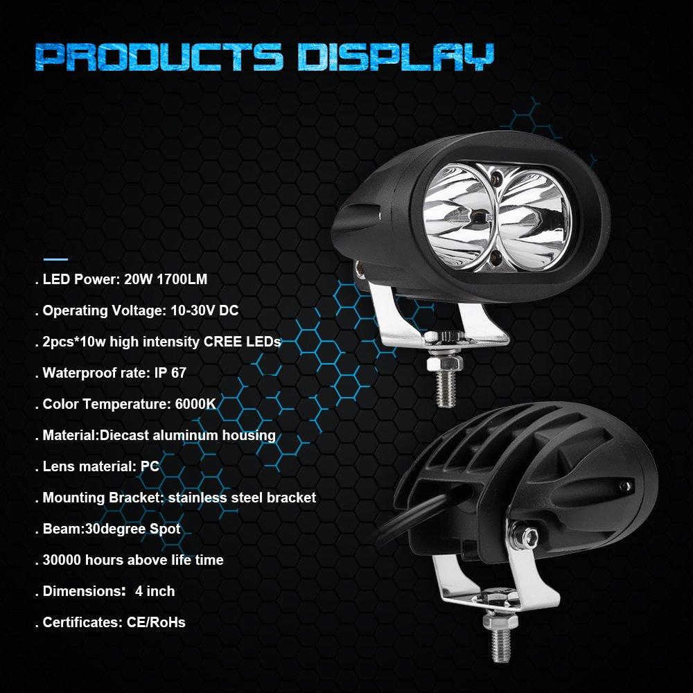 amazon com weisiji led motorcycle driving lights 20w reflected lens rh amazon com