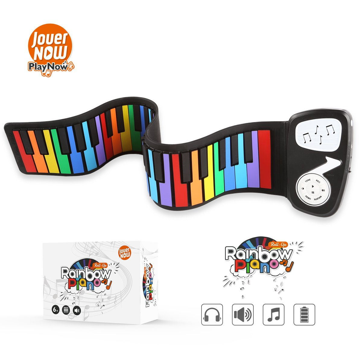 JouerNow Rainbow Roll Up Piano, with Music Scores - Play by Color, 49 Standard Keys with Built-in Speaker, Educational Toy, White by JouerNow (Image #1)