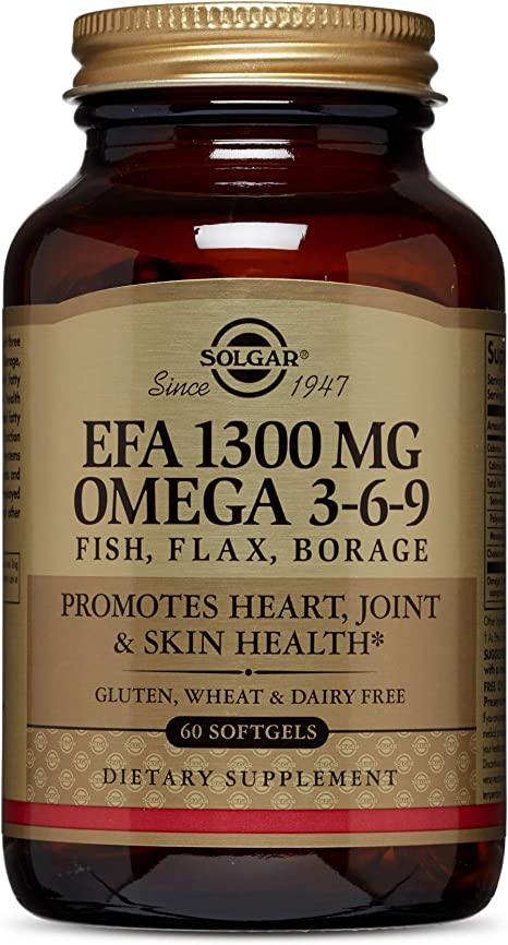 Amazon Com Solgar 1300 Mg Omega 3 6 9 60 Softgels Fish Oil Supplement Support For Heart Joint Skin Health Includes Flaxseed Borage Contains Epa Dha Omega