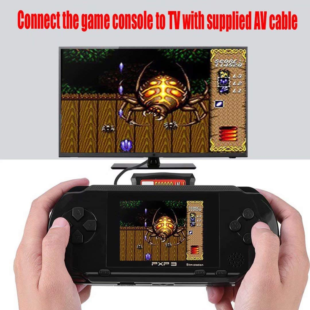 qiaoniuniu Handheld Game Console Kids Gift 16 Bit Portable Classic Video Games 150 Games Retro MD Paly Games PXP3 (Color: Black) by qiaoniuniu (Image #6)