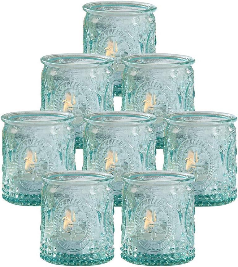 Kate Aspen Glass Votive Candle Holders 8 Pcs Vintage Tealight Candle Holder - Perfect Wedding Favor, Bachelorette Favor or Bridal Shower Favor, Blue