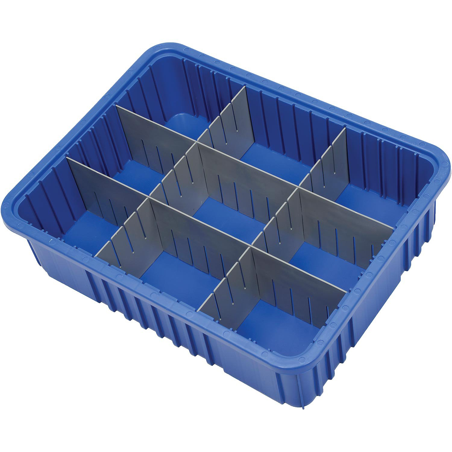 Plastic Dividable Grid Container, 22-1/2''L x 17-1/2''W x 6''H, Blue - Lot of 3