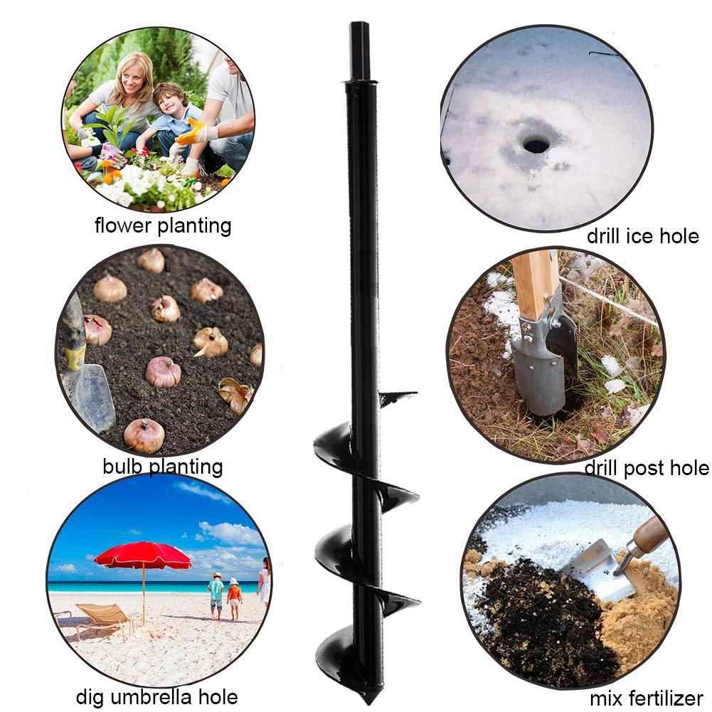 Bulb Plant Auger Umbrella Post Hole Digger for 10mm Hex Drive Drill Garden Planter Bulb Auger Drill Bit Garden Cultivator Hand Drill Digger Auger Rust-Proof Rapid Planter