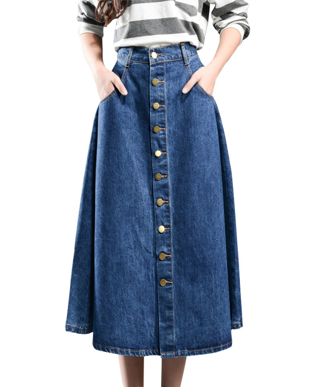 Wincolor Women's Button Down Flare A-line Pleated Long Denim Jean Skirt