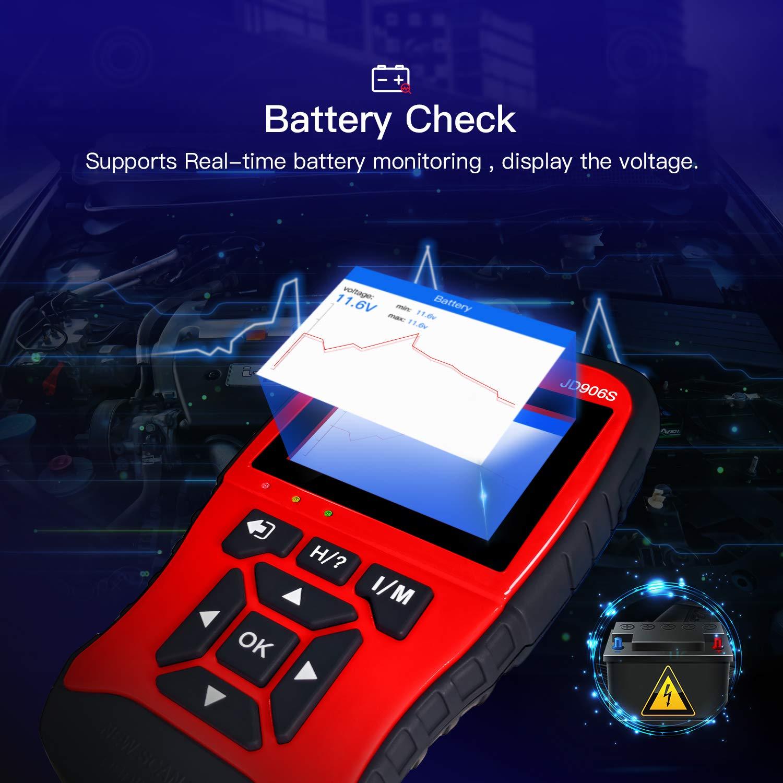 Supporta Mode6 Mode8. OBD II Strumento diagnostico di scansione con Definizione migliorata del codice e Stato della Batteria aggiornato Lettore di Codici di Errore Motore JD906S Scanner OBD2