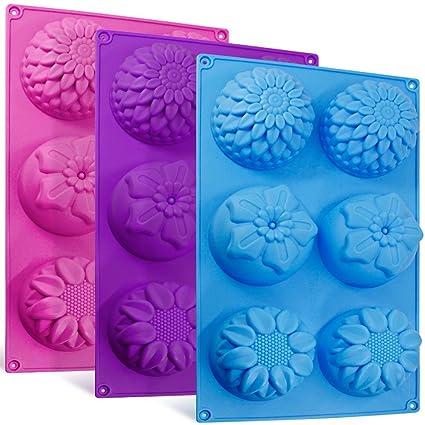 Senhai 6-cavidad de silicona flor forma bollo moldes, 3 paquetes de pasta de