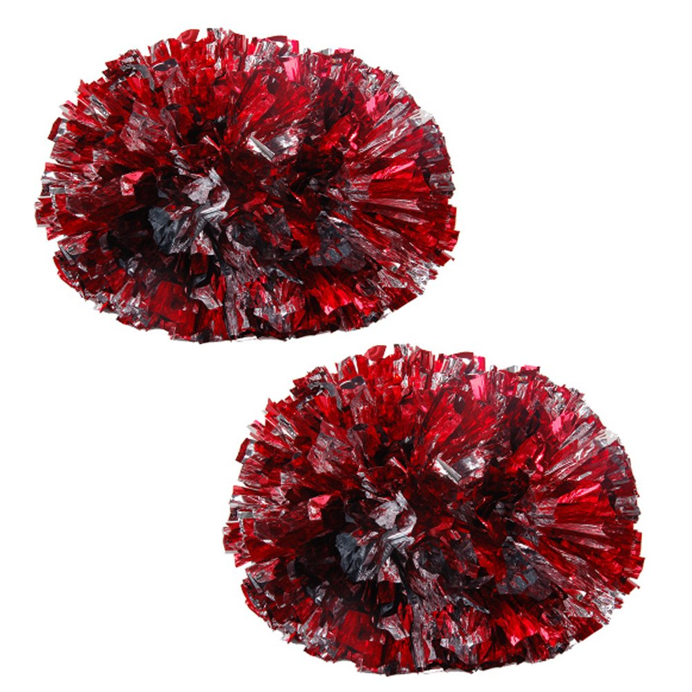 Colorful Baton poignée en plastique 120g Cheerleading Poms(paire), Rouge +Sliver Blancho Bedding