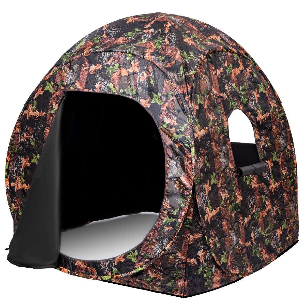 Tangkula Hunting Tent Portable Hunting Blind Pop Up Ground Blind 2-3 People Camo Waterproof with Backpack Hunting Enclosure