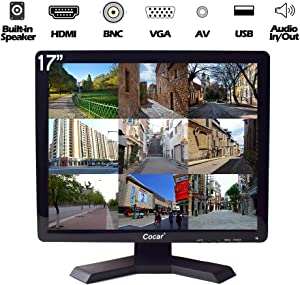 17 inch CCTV Monitor with VGA HDMI AV BNC Audio in/Out Ports, Built-in Speaker 4:3 HD Display LCD Security Screen with USB Drive Player for Home Store Surveillance Camera STB PC