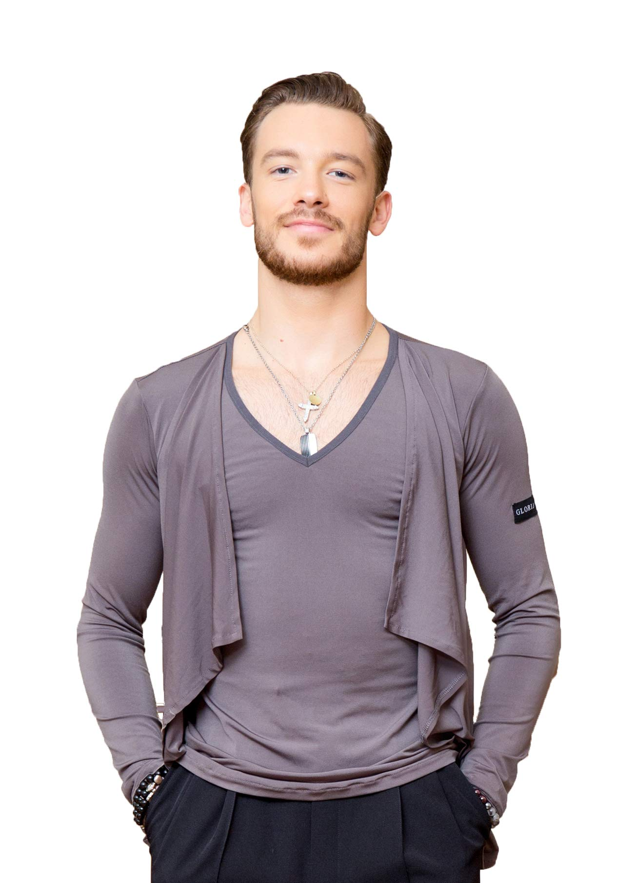 SuperStar Series:G5012 latin ballroom dance professional simulated two-piece design tops/shirt for men ((SBS) gray, M) by SCGGINTTANZ