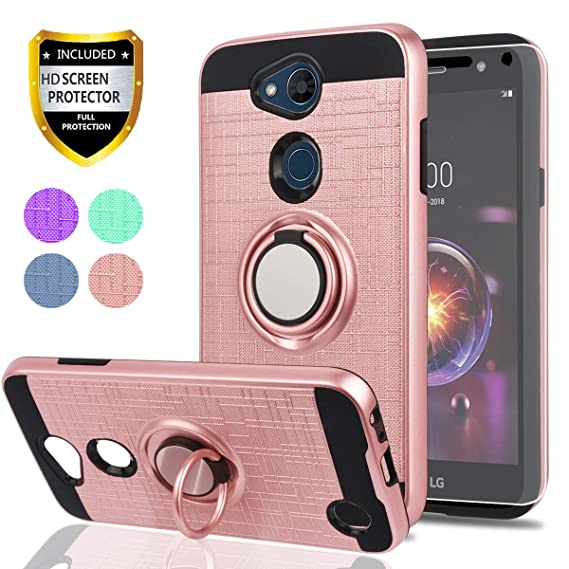 promo code aadf8 0f6a4 LG Fiesta 2 Case/X Power 2 / X Charge / K10 Power/Fiesta LTE Case HD Screen  Protector,Ymhxcy 360 Degree Rotating Ring & Bracket Dual Layer Shock ...