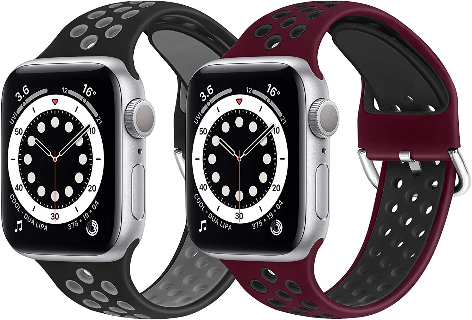 WNIPH Silicone Sports Bands Compatible with Apple Watch Band 38mm 40mm, Soft Breathable Silicone Straps Replacement Wristband for iwatch Series 6/5/4/3/2/1/SE(Black Grey+Wine Red Black, 38mm/40mm M/L)