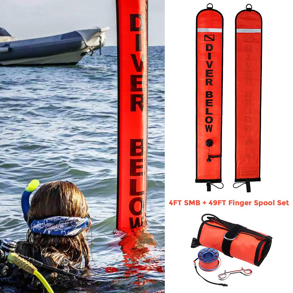 Blue 4ft Red Scuba Diving Open Bottom Diver Below Signal Flag Tube with 49ft Finger Spool Alloy Dive Reel and Double Ended Bolt Clip SMB Seafard Surface Marker Buoy
