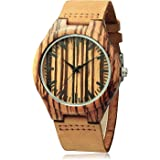 CUCOL Wooden Watches For Men Casual Watch Brown Cowhide Leather Strap With Box Father's Day Gift