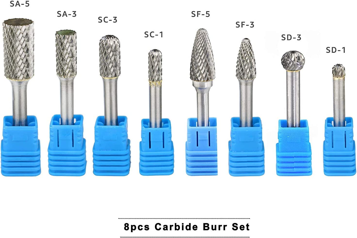 Carbide Rotary Burr Set 1//4 inch Shank Double Cut  Die Grinder Drill Bits 8Pcs