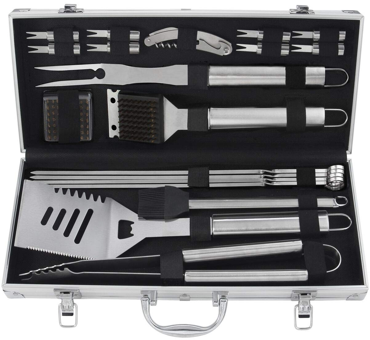 Grilljoy 20PCS Heavy Duty BBQ Grill Tools Set. Extra Thick Stainless Steel Spatula, Fork, eTongs & Cleaning Brush. Complte Barbecue & Grilling Accessories Kit in Aluminum Storage Case. Dishwasher Safe by grilljoy
