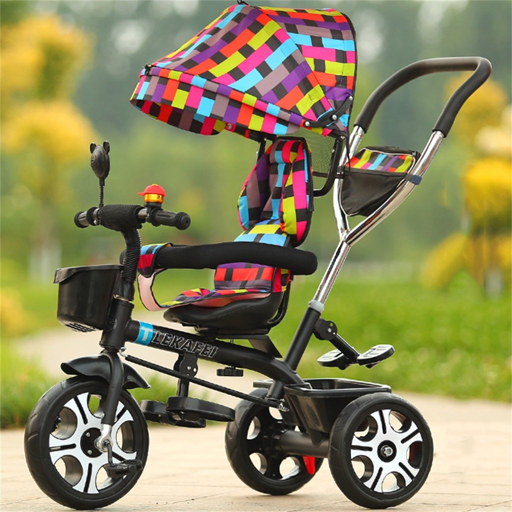 4-en-1 Niño Triciclo Kid Trolley Empuje Mango Stoller Bicicleta con Colorido Anti-UV Awning y Parent Handle   para 1-3-6 años de edad Niño y niña Bebé   Asientos giratorios   Aleación de aluminio 3 ruedas ( Color
