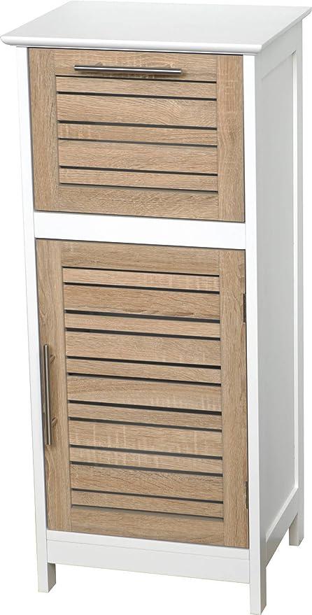 TENDANCE – Estocolmo Tablero DM Armario Puerta Plus 1 cajón en la Parte Superior, Madera, Blanco/Roble