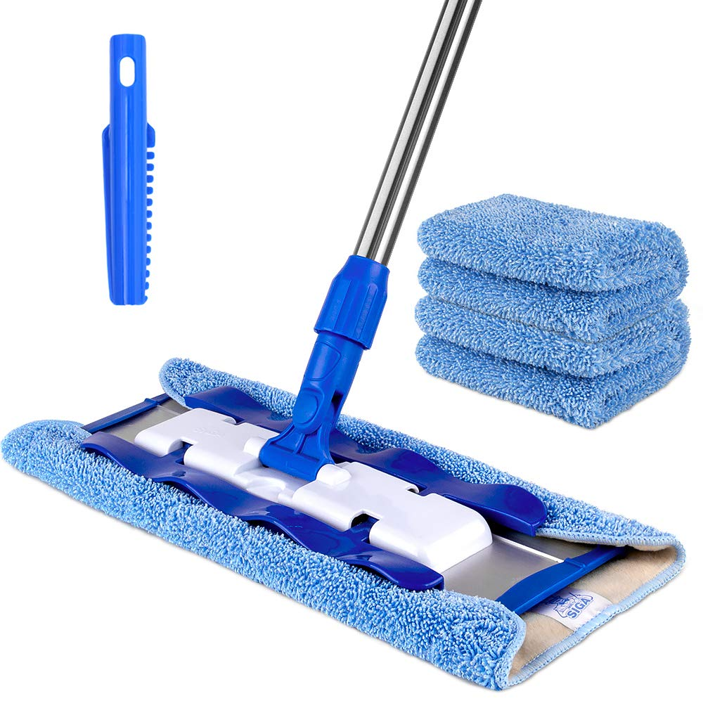 MR.SIGA Professional Microfiber Mop for Hardwood, Laminate, Tile Floor Cleaning, Stainless Steel Handle - 3 Reusable Flat Mop Pads and 1 Dirt Removal Scrubber Included