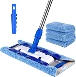 MR.SIGA Professional Microfiber Mop,Stainless Steel Handle - Pad Size: 42cm x23cm, 2 Free Microfiber Cloth Refills and 1 Dirt Removal Scrubber included