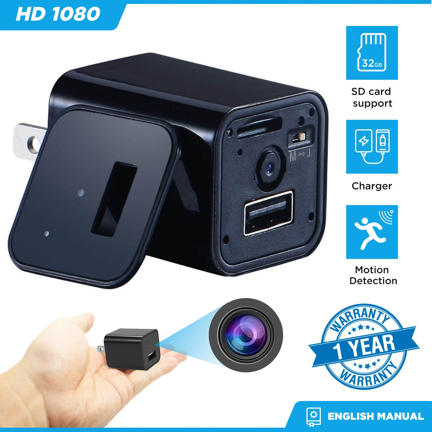Hidden Mini Camera Night Vision Charger Camera Motion Detection Camera [1080P None WIFI HD Cam] Video Camera Remote View Live Camera Nanny Camera Mini USB Wall Charger Adapte