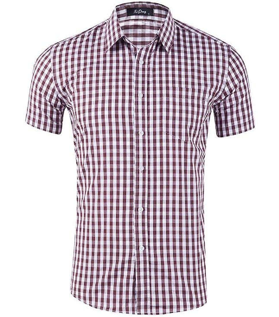 Rrive Mens Work Checkered Plaid Fitted Button Down Short Sleeve Dress Shirt