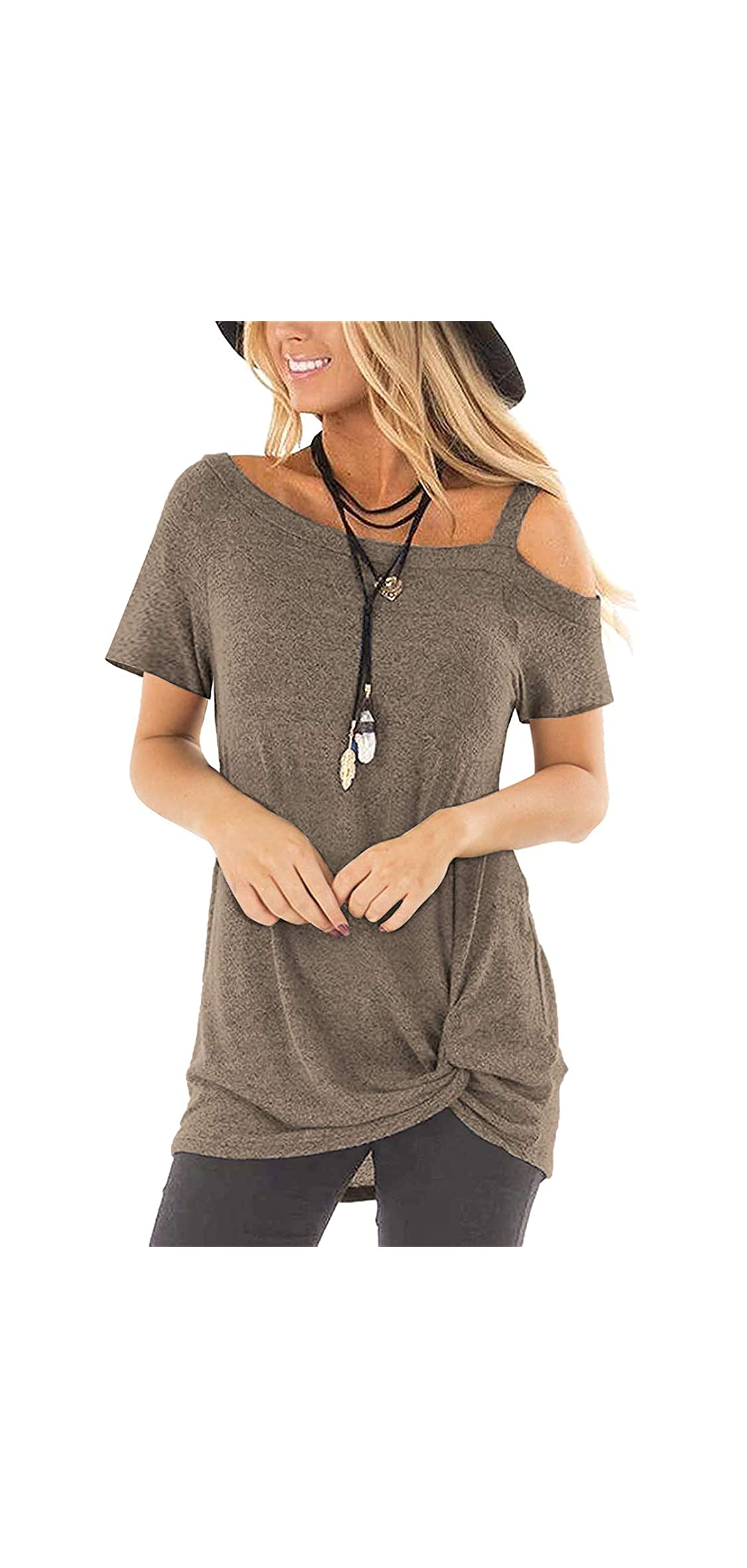 Women's Cold Shoulder T Shirts Twist Knot Tunics Tops